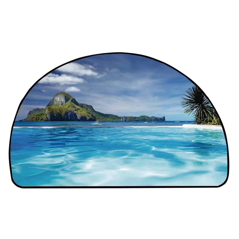 C COABALLA House Decor Comfortable Semicircle Mat,Landscape with Swimming Pool and Distant Island Tropical Exotic Hawaiian Dream Theme for Living Room,11.8'' H x 23.6'' L
