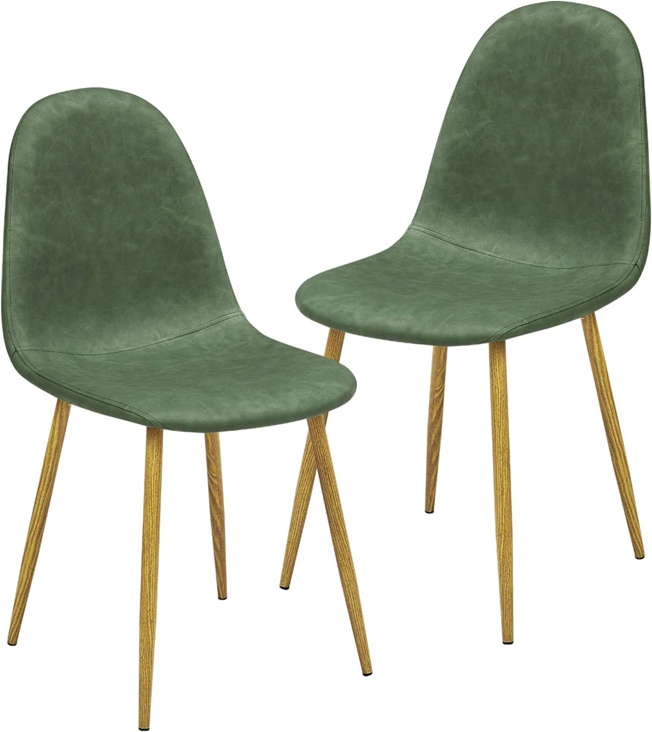 GreenForest Dining Chairs Set of 2, Wipeable PU Faux Leather Mid Century Modern Kitchen Room Side Chairs for Living Room Bedroom, Chairs for Thanksgiving and Christmas,Forest Green/Cactus