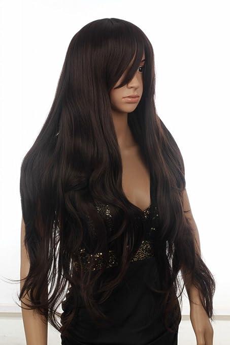 Prettyland C256 - peluca extra larga de color marrón oscuro lisa ligeramente ondulada en niveles con