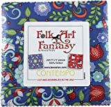 quilting fabric with 5 stars - Amanda Murphy Folk Art Fantasy 5X5 Pack 42 5-inch Squares Charm Pack Benartex