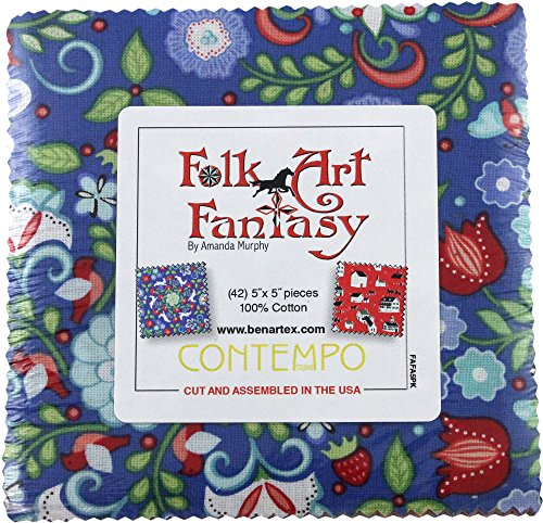 Quilt Fabric Folk Art (Amanda Murphy Folk Art Fantasy 5X5 Pack 42 5-inch Squares Charm Pack Benartex)