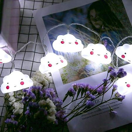 FLYWS Diez LED Silicona Nube Blanca batería Caja Decorativa luz de Cadena Linda Nube Navidad decoración: Amazon.es: Hogar