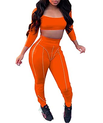 9e337358f361 Women Sexy 2 Piece Outfits Long Sleeve Crop Top Bodycon Jumpsuit Skinny  Pants Set Rompers Plus