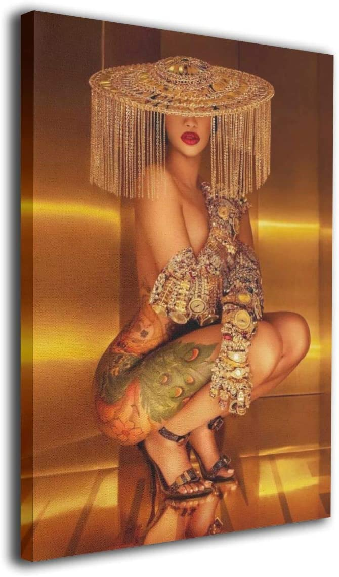 Silver-S Cardi B Rapper Singer Poster Wall Art Decor Framed Print 8x12 in - Picture Paintings for Living Room Bedroom Decoration