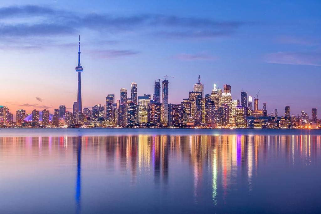 Amazon Com Toronto Ontario Canada Skyline Cn Tower Night Reflection Lake Ontario Photo Cool Wall Decor Art Print Poster 36x24 Posters Prints