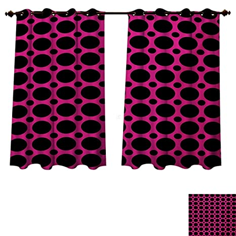 Bon RuppertTextile Hot Pink Bedroom Thermal Blackout Curtains Big And Small  Dots Spots In Symmetrical Order Old