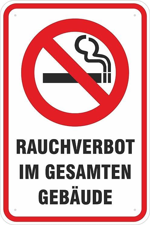 Aluminiumverbundplatte Schild 30 x 45 cm Gebäude Rauchverbot im g