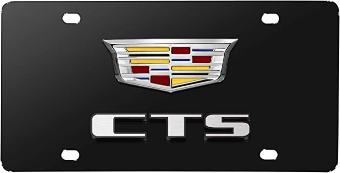 Cadillac CTS 3D Dual Logo Black Stainless Steel License Plate