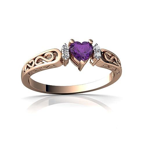 14kt Gold Amethyst and Diamond 4mm Heart filligree Scroll Ring