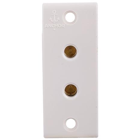 Anchor 14301 Penta 2 Pin Socket WH, 6 Amp, White