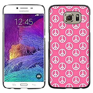 Be Good Phone Accessory // Dura Cáscara cubierta Protectora Caso Carcasa Funda de Protección para Samsung Galaxy S6 SM-G920 // Peace Hippie Symbol Love Pink Wallpaper Sign