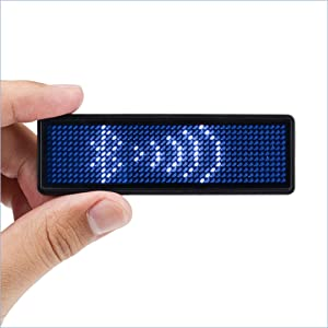Coolbird Blue LED Name Tag, Rechargeable Wireless Bluetooth LED Name Badge Reuseable Price Tag 44x11 Pixels Digital Sign for Restaurant Shop Exhibition Nightclub Hotel