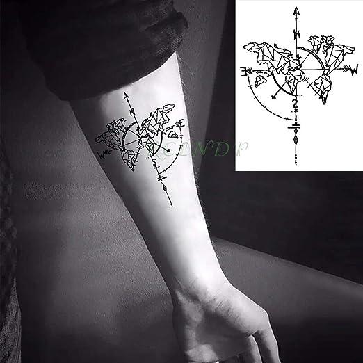 Yyoutop Impermeable Etiqueta engomada del Tatuaje Temporal Brújula ...
