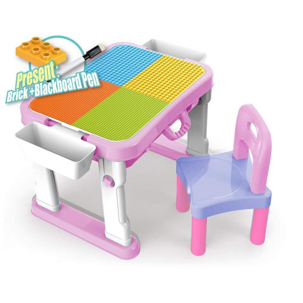 Nifeliz Kids Activity Table and Chair Set - 6 in 1 Building Brick Wall Table Sketchpad Toys Suitcase with Storage (1Chair&1Table-Pink)