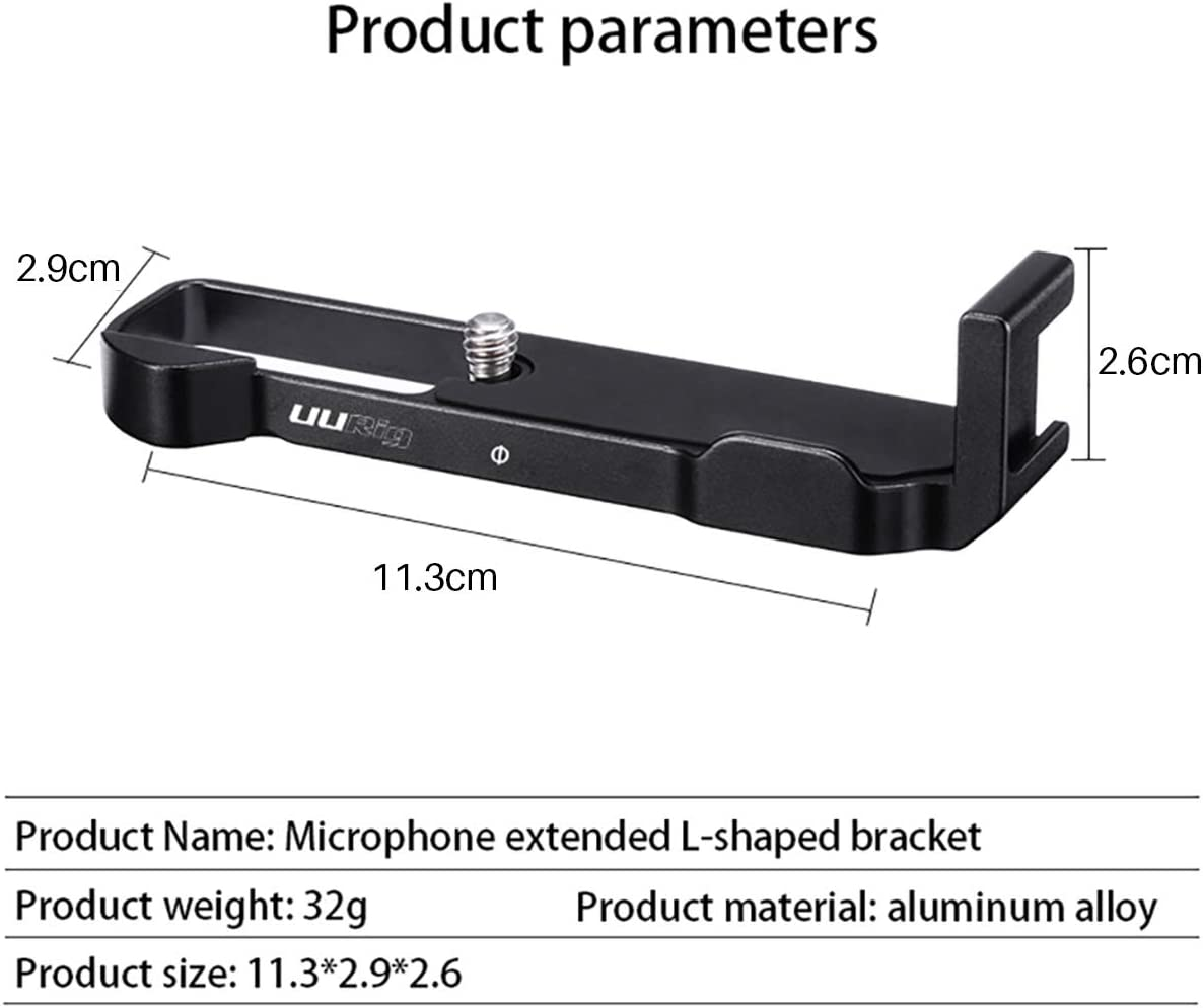 Aoile R016 Microphone L Extension Bracket for Canon G7X Mark III Comfortable Aluminum L Bracket Quick Switch Battery
