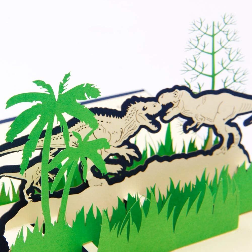color verde d/ía de la madre regalo de un solo dinosaurio Tarjeta de felicitaci/ón 3D con dise/ño de dinosaurio para el d/ía del padre cumplea/ños Navidad d/ía de la madre