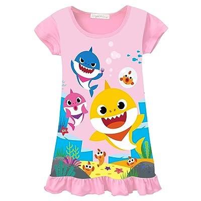 AOVCLKID Toddler Girls Baby Princess Pajamas Shark Cartoon Print Nightgown Dress: Clothing