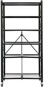 "YOUNIS 6-Shelf Shelving Storage Unit, Metal Organizer Wire Rack with Wheels, Open Storage Display Shelves Organizer for Garage, Kitchen, Bathroom, Pantry, Office, Laundry Room, 28"" x 14"" x 55"", Black"