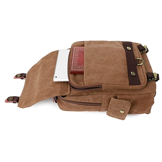 d0084c41fad6 Amazon.com  S-ZONE One Strap Sling Canvas Cross Body 13-inch Laptop  Messenger Bag Travel Shoulder Backpack  Computers   Accessories
