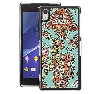 A-type Arte & diseño plástico duro Fundas Cover Cubre Hard Case Cover para Sony Xperia Z2 (Floral Weave Pattern Teal Oriental)
