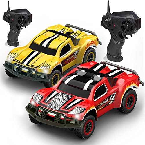 Kidirace Remote Control Car -2 Mini RC Racing Coupe Cars – With Rechargeable Batteries and Wall Chargers