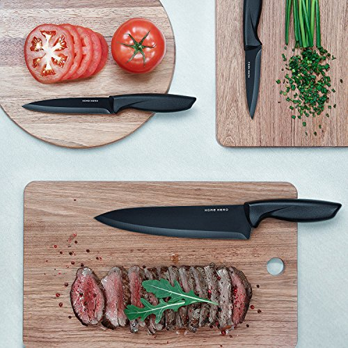 Stainless Steel Knife Set with Block - 13 Kitchen Knives Set Chef Knife Set with Knife Sharpener, 6 Steak Knives, Bonus Peeler Scissors Cheese Pizza Knife & Acrylic Stand - Best Cutlery Set Gift by Home Hero (Image #4)
