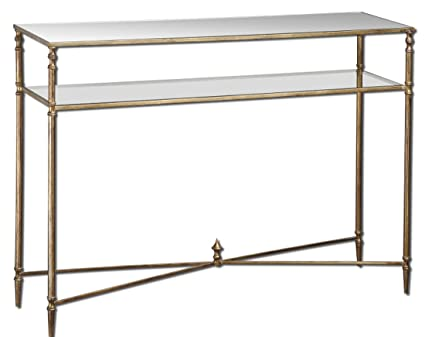 Contempoary BARSTOW Console Table Glass Iron MINIMALIST