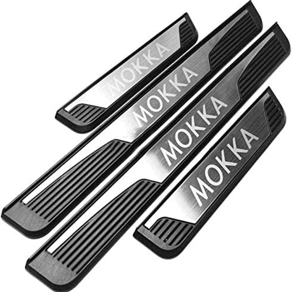 For Opel Vauxhall Mokka 2013-2019 Threshold Cover Protection Trim Anti Scratch Guard Bumper HUAQIEMI 4Pcs Car Door Sill Scuff Kick Plates Protector Sticker Stainless Steel