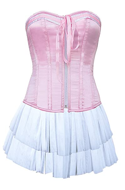 JapanAttitude Corsé Rosa con Zip, Flot y Mini Falda Blanca Kawaii Blanco Large