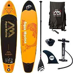 Aqua Marina 340-18FUS Fusion Stand Up Inflatable SUP Paddle Board, Orange, 10