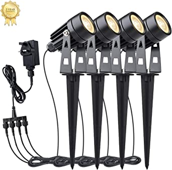 Garden Lights Uoune 12v Led Landscape Lighting 4 Pack Ip65 Waterproof Powered Low Voltage Spotlights Outdoor