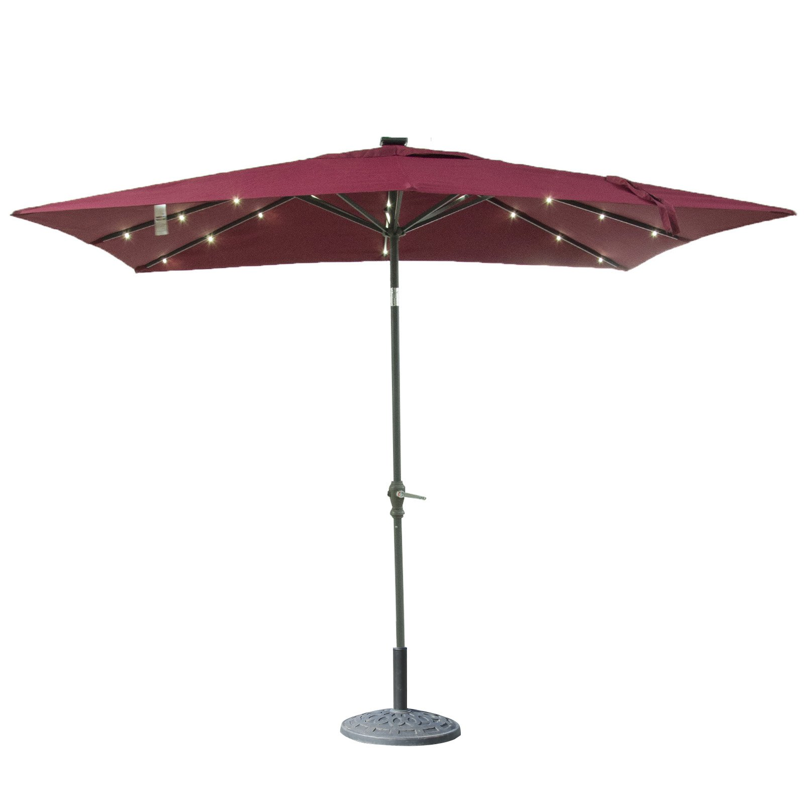 ORNO TTOBE 9x7 Foot 32 LED Light Solar Patio Outdoor Market Aluminum Umbrella with Push Button Wine Red, 8 Ribs