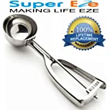 SuperEze Cookie Dough Scoop & Ice Cream Scooper - FREE Recipes. Perfect for Baking Muffins, Cookies, Water Melons or a Portion Control Disher- Best 18/8 Stainless Steel. Small 3/4 Ounce Dropper - 40mm