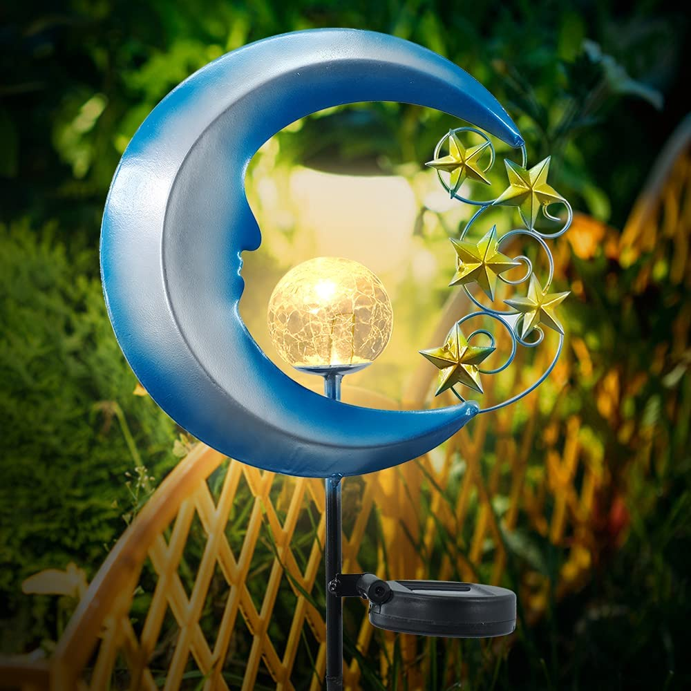 HAVEONE Garden Solar Light Outdoor Decorative, Metal Moon Stars Crackle Glass Globe Landscape Lights for Pathway, Lawn, Patio, Yard (1 Pack)