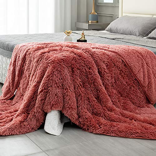 Topblan-Shaggy-Faux-Fur-Weighted-Blanket-20lbs-Super-Soft-and-Cozy-Long-Hair-Sherpa-Fleece-Blanket-for-Bed-Sofa-Luxurious-Photo-Props-Throw-Blanket-60x80-inches-Rust-Orange-Dirty-Pink