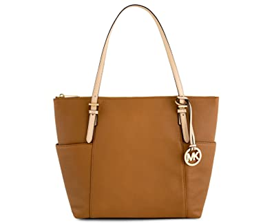 767a6431207f Amazon.com  Michael Kors Jet Set East West Top Zip Leather Tote (Acorn)   Shoes