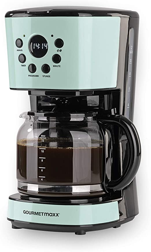 GOURMETmaxx Cafetera de filtro con jarra de cristal, función de temporizador, apagado automático, diseño retro, pantalla incluida, filtro permanente, acero inoxidable/cristal, 900 W, menta: Amazon.es: Hogar