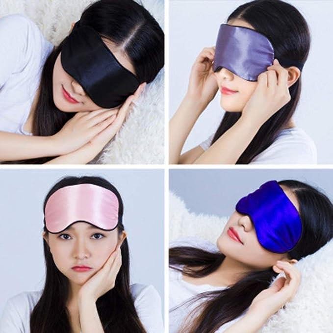 Sleep Mask Noir Lunji 3D Masque de Sommeil Polyester Super Doux Masque de Nuit de Voyage