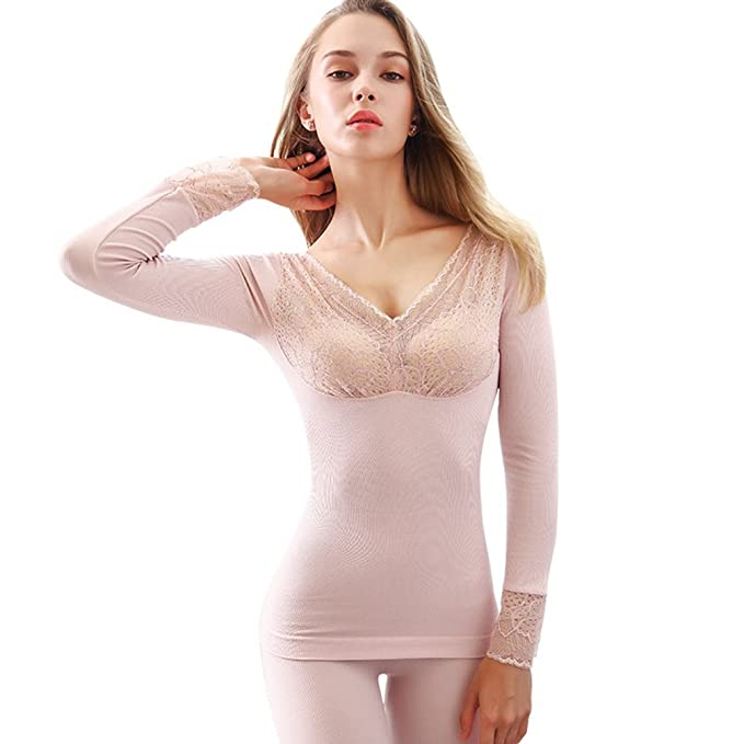 YiLianDa Mujer Sexy Encaje Conjunto Termico Invierno Chaqueta & Pantalones Larga Ropa Interior Conjunto De Pijama