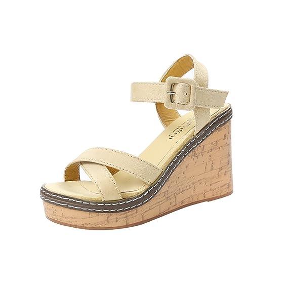Briskorry Sandalias con Cuña Plataforma Mocasines Tacón Alto Zapatos Punta Shoes Abierta Zapatos Retro Chancla de Mujer: Amazon.es: Ropa y accesorios
