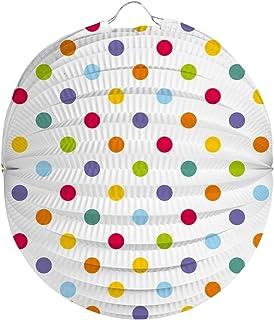Linterna de Papel, Farolillo de Papel de Lunares de Colores, 22cm Halloween. Decoracion