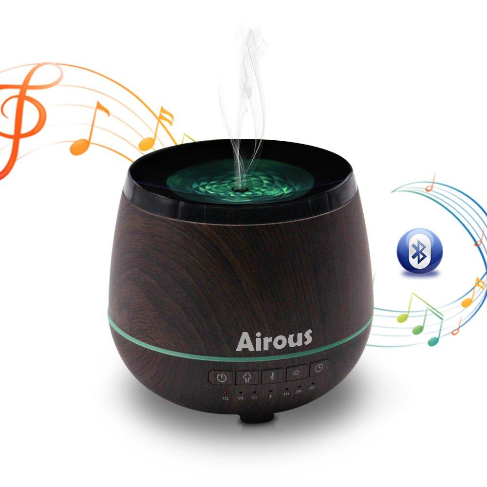 300ML Aroma Essential Oil Diffuser Cool Mist Humidifier Wood Grain Bluetooth Diffuser Timer Auto Shut-Off Office Bedroom Yoga Spa