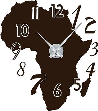 Wandtattoo Wandaufkleber Uhr Wanduhr Afrika Karte Zahlen Deko Fr Wohnzimmer Braun Horloge Argent