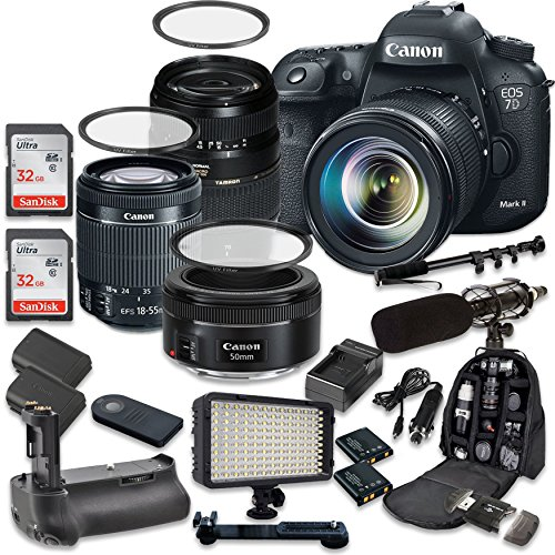 Canon EOS 7D Mark II 20.2MP CMOS Digital SLR Camera with Canon EF-S 18-55mm f/3.5-5.6 IS STM Lens + Tamron AF 70-300mm f/4-5.6 Lens + Canon EF 50mm f/1.8 STM Lens (7d Eos Canon Camera)