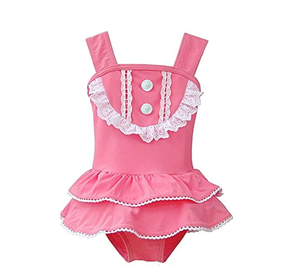 Baby Girls Toddler Kids One Piece Pink Lace Flounced Swimsuit Swimwear With Hat bgirkkSSs005
