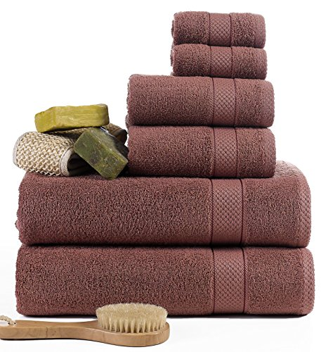 ixirhome Turkish Towel Set 6 Piece,100% Cotton, 2 Bath Towels, 2 Hand Towels and 2 Washcloths, Machine Washable, Hotel Quality, Super Soft and Highly Absorbent (Terra-Cotta Brown) ()