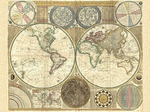 (Feeling at home ROLLED-CANVAS-fine-art-print-Double-hemisphere-map-of-the-world-1794-Vintage-31x42_in)