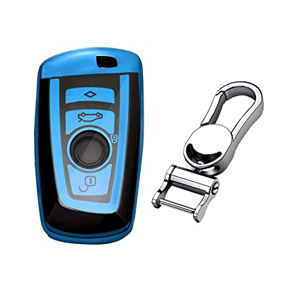 M.JVisun Soft TPU Case Cover Protector Case for BMW Key Fob, Car Remote Key Fob Case for BMW 1-Series 2 3 4 5 6 7 Series X3 X4 M2 M3 M4 M5 M6 Fob Remote Key - Glossy Blue - Metal Keychain: Automotive