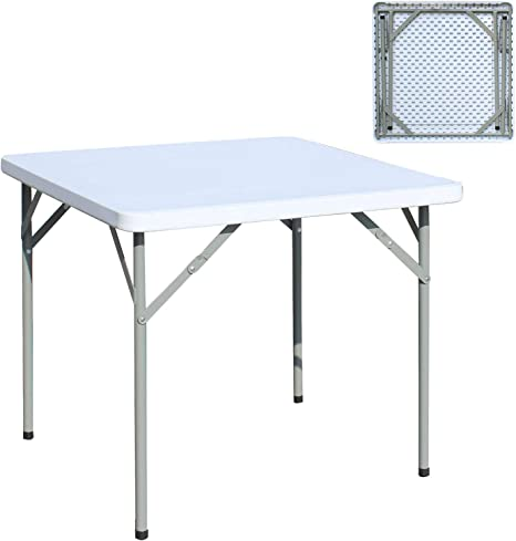 sogesfurniture Mesa Plegable Portátil, Mesa de Plástico Resistente, Ideal para Camping, jardín, Picnic, Cocina, terraza, 84x84x74cm, HP-84F-BH