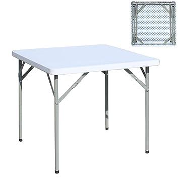 sogesfurniture Table de Jardin Blanc en Plastique Portable -  Intérieure/Extérieure/, Table Pliante pour Camping Traiteur Buffet Picnic,  84x84x74cm, ...